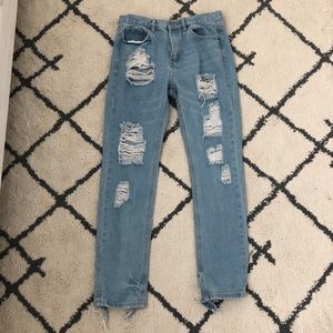 high rise light wash ripped jeans from brandy